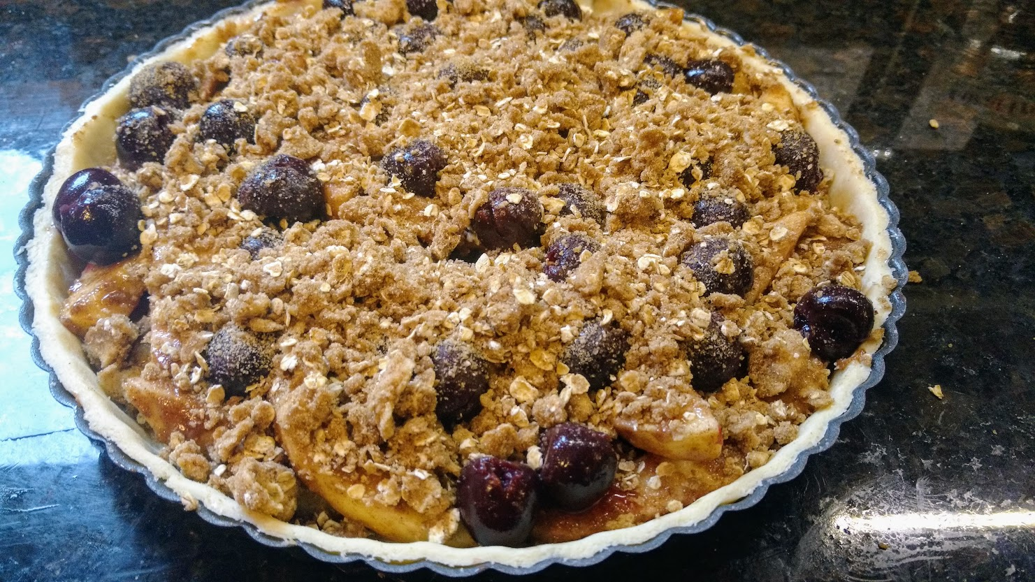 Apple and Sour Cherry Flan - with topping